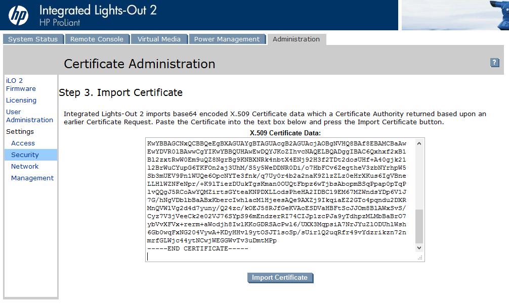 Replace HP iLO security certificates | vcloudnine de