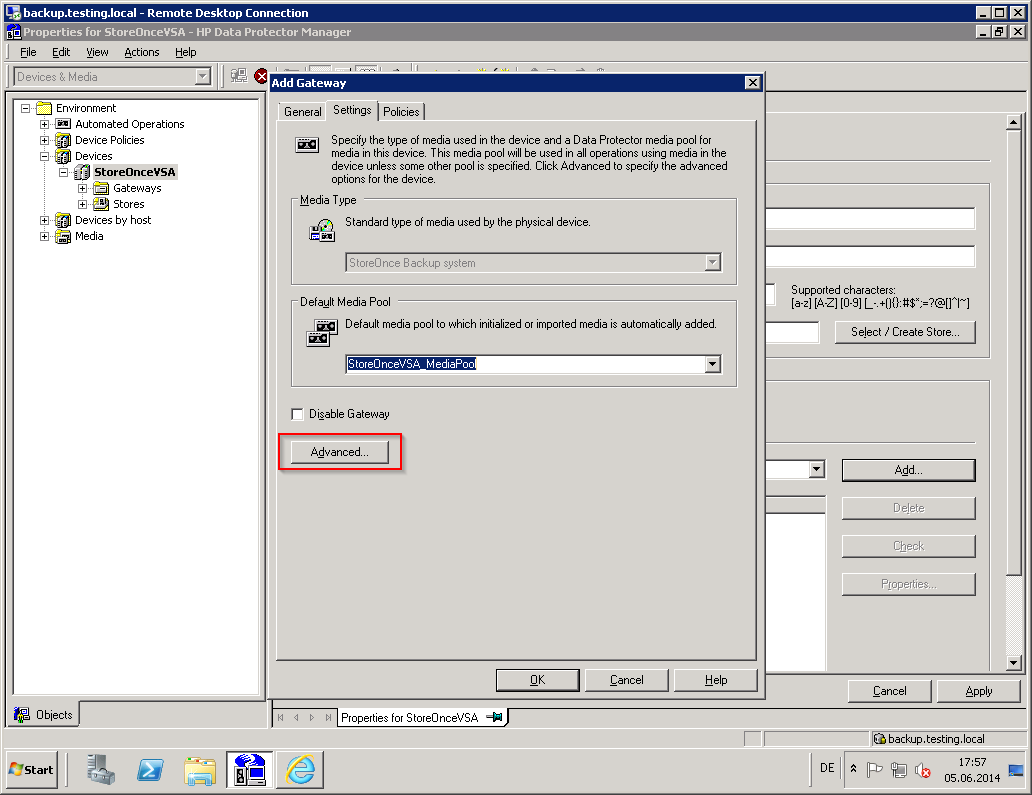 Configuring HP StoreOnce VSA and HP Data Protector for HP
