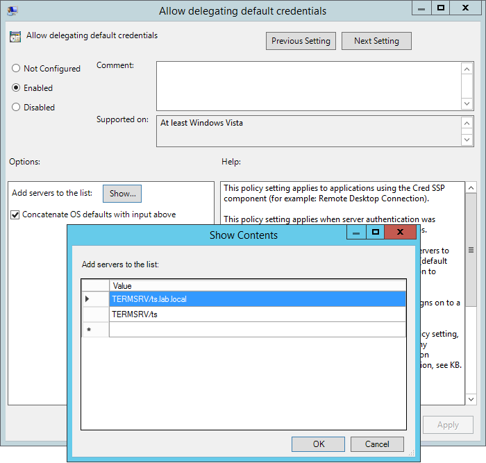 Single Sign On (SSO) with RemoteApps on Windows Server 2012 (R2