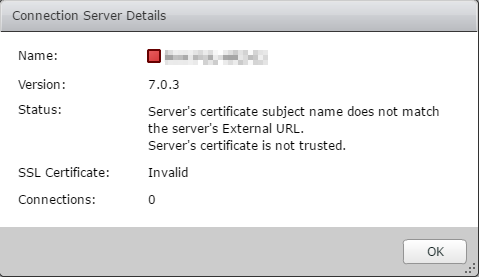 Horizon View Certificate Error