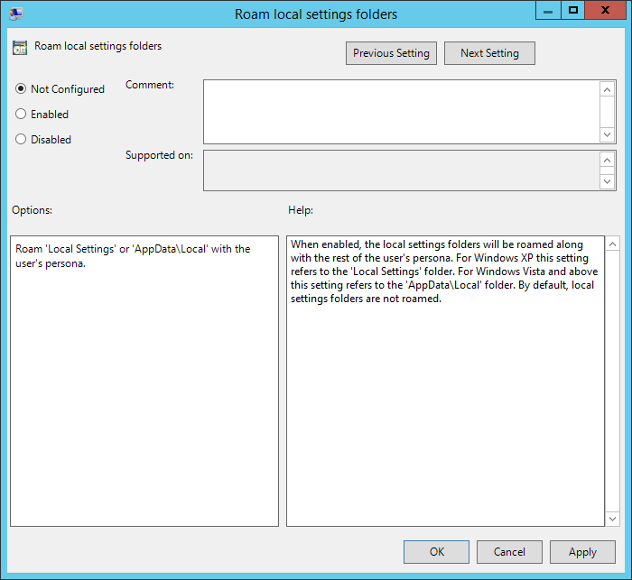 Horizon View Persona Management Roaming GPO Settings